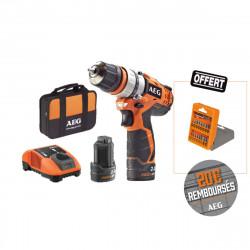 Perceuse visseuse AEG 12V - 2 batteries 2.0Ah - 1 chargeur BBS12C2-202BKIT1 - Coffret d'accessoires 17 pcs offert