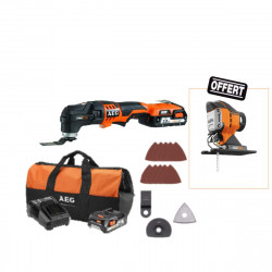 Outil multifonctions Multi tool AEG 18V - 2 batteries 2.0Ah 1 chargeur OMNI 18CLI-202BKIT1X - 1 tête scie sauteuse offerte