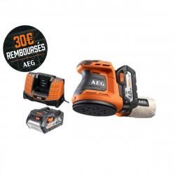 Ponceuse excentrique AEG 18 V 125mm Li-ion - 2 batteries 4.0Ah - 1 chargeur 80min - BEX18-125 LI-402C