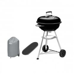 Pack Weber Barbecue à charbon Compact Kettle 47 cm Noir - une housse de protection imperméable - une plancha 40x22cm