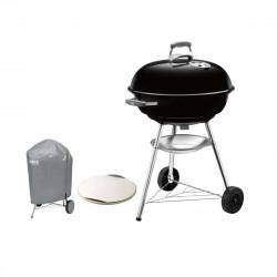 Pack Weber Barbecue à charbon Compact Kettle 57 cm Noir - une housse de protection imperméable - une pierre à pizza 26cm