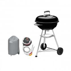 Pack Weber Barbecue à charbon Compact Kettle 47 cm Noir - une housse de protection imperméable - un thermomètre connecté iGrill2