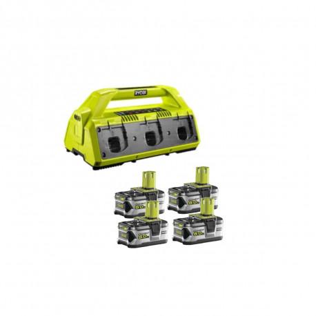 Pack NRJ RYOBI 18V - 1 chargeur 6 ports Lithium-ion RC18-627 - 4 batteries 5,0 Ah RB18L50