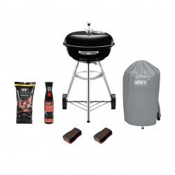 Pack Weber Barbecue à charbon Compact Kettle 47 cm Noir - housse - charbon 10kg - nettoyant 300ml - Eponges 2pcs