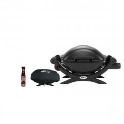 Pack WEBER Barbecue à gaz Q1000 Noir - une housse de protection imperméable - un spray nettoyant 300ml